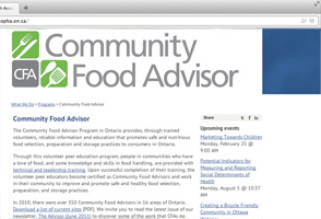 Community Food Advisor website