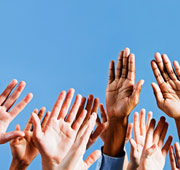 A group of hands up in the air